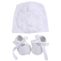 Wholesale girls baptism shoes - Wholesale- 2016 Christening Baptism Baby Photography Props Girls Shoes Baby Hat Set,Kids Party Princess Infant Shoes Floral Baby Hats Set