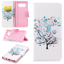 Wholesale Wholesale Designer Phone Cases - For Samsung Note 8 S8 Plus Cover Painted PU Leather Cases Flip wallet Card Stents holster Feather Colorful Tree Designer Phone Bags