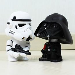 Wholesale Star Wars Box Sets - 10cm 2pcs set Q Style Star War Swivelably Cartoon Decoration Darth Vader & STORM TROOPER PVC Action Figure Model Toy with Retail Box