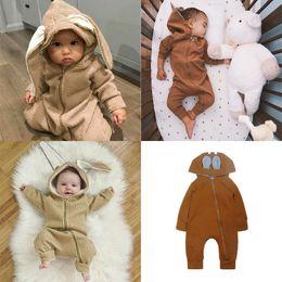 Wholesale Baby Girl Bodysuits - INS Newborn Baby Bunny Ears Romper Cartoon Sika Deer Dot Long Sleeve Bodysuits Infant Printed Hooded Zipper Playsuits