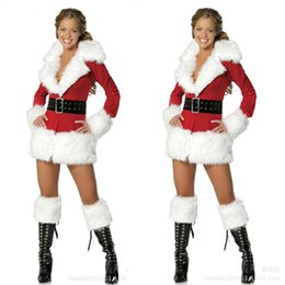 Wholesale Hot Sexy Santa - Hot Sale Christmas Sexy Holiday Party Luxurious Miss Santa Costumes Long Sleeves Cosplay Party Fancy Dress