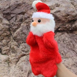 Wholesale puppets for kids - New Cute Christmas Hand Puppet Dolls Toys 27CM Santa Stuffed Dolls Storytelling Finger Even Hand Puppet For Baby Gifts CCA7636 100pcs