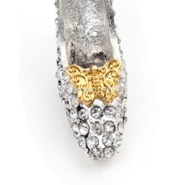 Wholesale Wholesale Glass Slippers - 49*34mm Clear Shoes Hight Heel Cinderella Glass Slipper Rhinestone Pendant Chunky Neckalce Beads 10pcs slipper