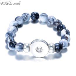 Wholesale Channel Charms Wholesale - 20pcs lot 18mm snap button beaded bracelet & bangle Mixed color Stone charm bracelet Fit 18mm snap button Jewelry for women SZ0117e