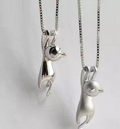Wholesale Cat Platinum - 925 Sterling Silver Cute Cat Pendant Necklace Women Wedding Jewelry 19*5.4mm Pendant Animal Party Jewelry Silver Color