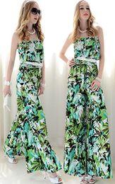 Sommer plus Größe Frauen reizvolle trägerlose lose Kleid-Hosen-Overall-Spielanzug-Dame Elegant Green Playsuit breite Bein-Hose von Fabrikanten