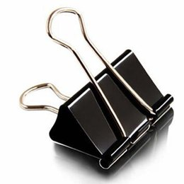 Wholesale Paper Filing Clips - 36pieces Lot Black Metal Binder Clips 15 19 25 32 41 51mm Notes Letter Paper Clip Office Supplies Binding Securing clip Product