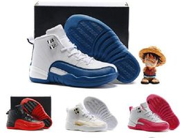 Wholesale A3 Red - Air Retro 12 Kids Basketball Shoes Youth Children's Athletic Retro 12 Sports Shoes for Boy Girls Shoes Free Shipping size:28-35