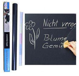 Wholesale Mini Chalk - Chalkboard Wall Stickers Blackboard Black Chalk Board Sticker Mini Portable 45*200CM Removable Vinyl PVC With Chalks For Kids Children