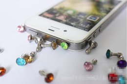 Wholesale Diamond Headphone Dust Plug Cap - Wholesale Colorful Diamond Earphone Headphone anti Dust plug dust Cap for mobile phone for 3.5mm plug phone