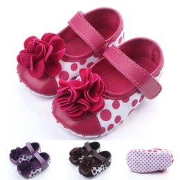 Wholesale Brown Summer Infant Girl Dress - New Arrival Beautiful Dot Special Flower Bowknot Baby Girl Shoes Hook & Loop Anti-slip Infant Shoes Dress Shoes