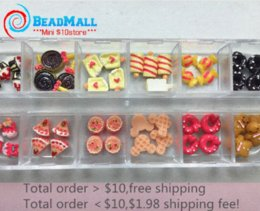 Wholesale Wholesale Ice Resin - New Arrival Sweet Cake Ice-cream 48pcs lot Resin Nail art Accessories Rhinestone Resin Bow for Nails mix box packing DIY