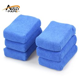 Wholesale Wax Applicators - Wholesale- 6 PCS Car Care Premium Grade Microfiber Applicators Sponges,Cloths, Microfibre Wax Polishing Blue12*8*4cm