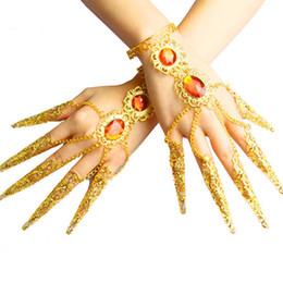 Wholesale Belly Dance Bracelets - Wholesale- Belly Dance Jewelry Bracelet False Nails Nail Metal Chain Finger False Nails Cover