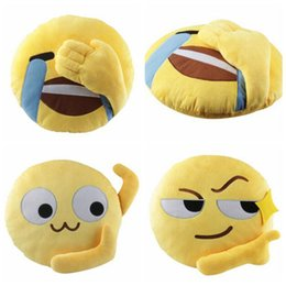 Wholesale Child Plush Car Pillow - 3 Styles 35cm Cute Emoji Decorative Pillows Plush Toys Stuffed Toy Sofa Car Seat Funny Round Cushion Home Decoration Pillows CCA7391 100pcs