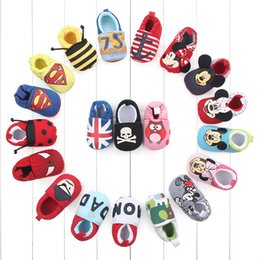 Wholesale Tie For Infant Boy - Avengers Mickey Cotton Soft Sole Moccasins 16 Colors Newborn Baby First Walker Shoes Toddlers Infant Kids Sports Shoes for Boys&Girls