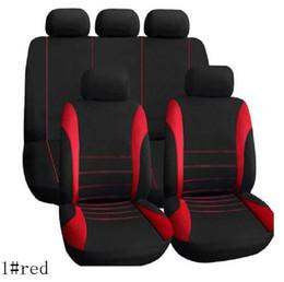 Wholesale Designed Car Seat Covers - 9pcs set Car Seat Cover sets Universal Fit 5 seat SUV sedans front back seat elastic washable breathable fashion strip design