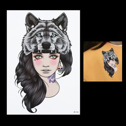 Wholesale Girl Tattoo Flowers - Wholesale- 1pc Fashion Women Wolf Head Girl Skull Flower Arm Body Back Art Decal HB206 Temporary Tattoo Women Men Tattoo Sticker Decoration