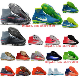 Wholesale Boots Woman Us8 - High Top Mens Kids soccer shoes Mercurial Superfly V SX Neymar FG TF football boots boys soocer cleats CR7 Women Original neymar Boots