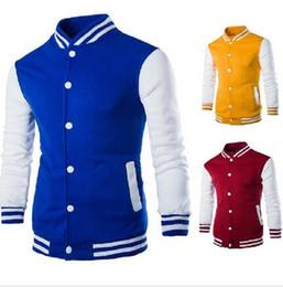 Wholesale Red College Jacket - Wholesales-8 colors Premium Varsity College Letterman Baseball Jacket Uniform Jersey Hoodie Hoody M L XL XXL