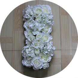 Wholesale Artificial Chrysanthemums - Free shipping white roses and chrysanthemum Artificial wedding silk rose arch flower wedding decoration flower row flower frame 10pcs lot
