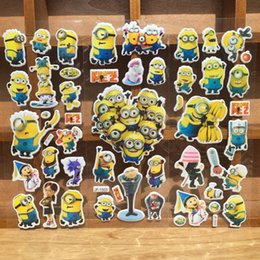 Wholesale Minions House - Cartoon Despicable Me 2 Minion Wall Stickers 3D Bubble Paster Wall Book Phone Bubble Posted Wallpaper For Kids Children Gift