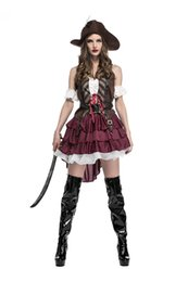 Wholesale Red Pirate Dress - Halloween Costume for Women Sexy Caribbean Captain Pirate Costumes Adult Female Warrior Fancy Cosplay Dress Clothing Carnival