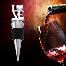 Wholesale Small Stopper Bottles - Romantic letter LOVE red wine bottle stopper Creative European small gifts Wedding favor Valentine's day gift