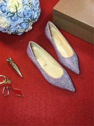 Wholesale Bright Christmas - 2017 Fashion Nude Patent Studded drill Diamond covered Pink bright Flats Shoes Ladies shoes, casual shoes no root loafers shoes With Box