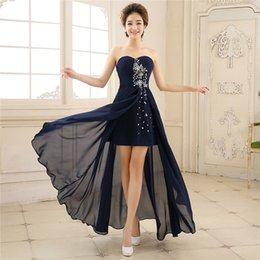 Wholesale Prom Navy Blue Asymmetrical - Sexy Asymmetrical Split Cheap Evening Gowns Beaded Crystal 2017 Formal Party Navy Blue Long Prom Dress