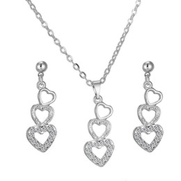 Wholesale Simple Heart Earrings - Love Heart-shaped Rhinestone Crystal Earring & Necklace Simple And Stylish Korean Style Fashion Party Jewelry Sets The Clothing Accessories