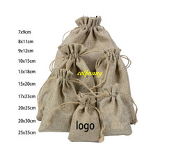 Wholesale Wrapping Paper Gift Bags - 50pcs lot 7*9cm 8*11cm 9*12cm 10x15cm 13*18 15*20cm 17*23cm 20*25cm 20*30cm 25*35cm Burlap Jute Drawstring Gift Jewelry Pouches Bags