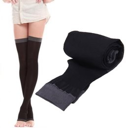 Wholesale Thigh High Socks Sales - Wholesale-Breathable Lady Compression Knee Toe Fat Burn Leg Slim Varicose Veins Thigh High Stockings 2016 Hot Sale