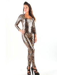 Wholesale Cat Woman Jumpsuit - High Quality Sexy Adult Women Gold Leopard Catwoman Costume Faux Leather Adult Sexy Cat Catsuit Backless Long Jumpsuit W7951
