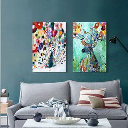 Wholesale Canvas Painting Set Two - 2pcs set Colorful Peacock & Reindeer Unframed Wall Art Watercolor Print Poster Abstract Picture Canvas Painting Home Decor