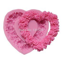 Wholesale Rose Shaped Silicone Mold - Big Size Rose Silicone Mold Rose Heart Wreath Silicone Rubber Food Safe Mold Heart Shaped Cake Decorating Tools Soap Cake Mould
