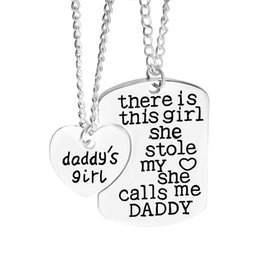 Wholesale Gifts For Grandpa - There is a girl stole my heart Mommy Daddy Grandpa family member dog tag pendant nekclaces for women Christmas gift fashion jewelry 161578