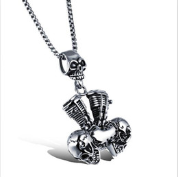 Wholesale White Gold Filled Locket - ZHF JEWELRY Stainless Steel Men Necklaces Skull Pendant Box Chain Necklace Fashion Men Jewelry Cool Long Chain Necklace Wholesale DGX1054