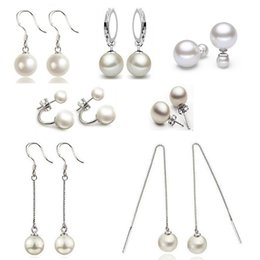 Wholesale mother pearl for sale - Silver Pearl Earrings Hot Sale Stud Drop Dangle Earring For Women Girl Party Fashion Jewelry Wholesale Free Shipping - 0166WH
