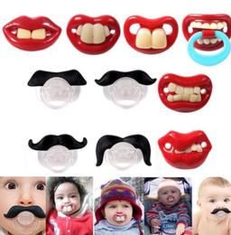 Wholesale Teeth Orthodontic - Cute Funny Teeth Beard Mustache Baby Pacifier Orthodontic Dummy Infant Nipples Silica gel infant Pacifier KKA2387