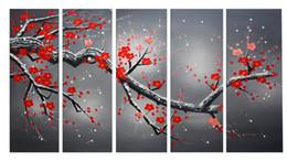 Wholesale Framed Oil Painting Landscape Large - Framed Large Oil Painting Frame Red Plum Blooming Art 100% Hand Painted Red Flower Paint Large Landscape Painting 20x60CMx5pcs