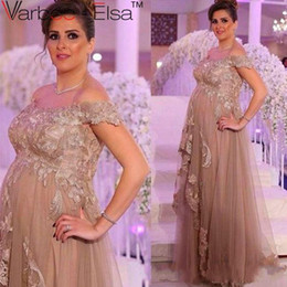 Wholesale pregnant woman art - Arabic Pregnant Pink Plus Size Prom Dresses 2018 Off Shoulder Neck Cap Sleeves Backless Women Formal Evening Party Gowns