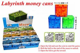 Wholesale Magic Cans - 12 pcs lot color box 3-color children's puzzle magic maze money cans intellectual development 3d three-dimensional maze cube toys puzzle box