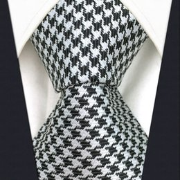 Wholesale Houndstooth Mens - S9 Houndstooth Black White Extra Long Size Mens Ties Neckties 100% Silk Jacquard Woven Handmade