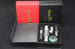 Wholesale Retail Dish - Retail 10mm mini nectar collector Kit With Titanium&Glass Nail Dabber Dish Mini Glass Bong 10mm Joint Smooth Hit Micro NC smoking pipes
