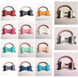 Wholesale Yellow Brown Hair Color - New PU Leather Hair Bows HairTies Hairbands 30pcs lot Elastic Shinning Synthetic Leather Headbands Top Quality 15 Colors Kids Rose Gold