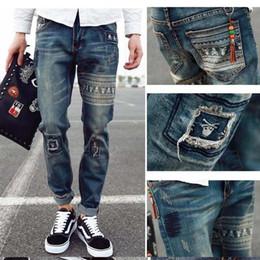 Wholesale vintage coat xs - Wholesale-HOT 2016 Fashion Straight Stretch Hole Vintage Design Ripped Denim homme Hip Hop Street biker jeans teenagers pants Free Ship