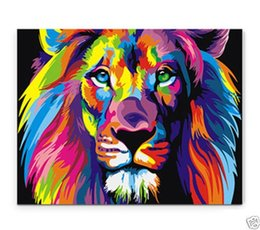 Wholesale Bright Wall Art - Framed Bright-coloured lion,Pure Hand Painted modern Wall Decor Art Oil Painting On High Quality Canvas,Multi Sizes Available moore20