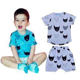 Wholesale Boys Bat Shirts - 5sets Cartoon Batman Printed Boys Girls Clothing Set 2016 Summer Baby Clothes Bat Head Short Sleeve T-shirt + Shorts Pants Kids 2pcs Sets