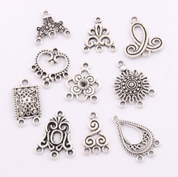 80pcs lot Charms Pendants Earrings Connectors 10styles Tibetan Silver Connector For Jewelry Craft DIY LM1 Jewelry Findings & Components